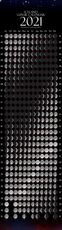Lunar Calendar 2021 (Iceland)